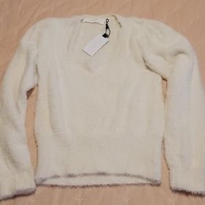 ASTR The Label Fuzzy Square Neck Crop Sweater S
